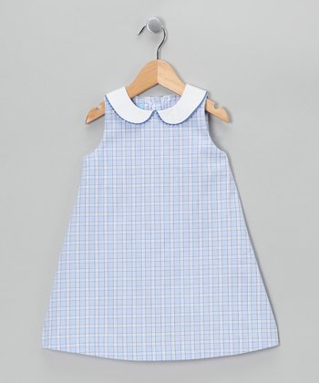 Royal Blue Plaid A-Line Dress - Toddler