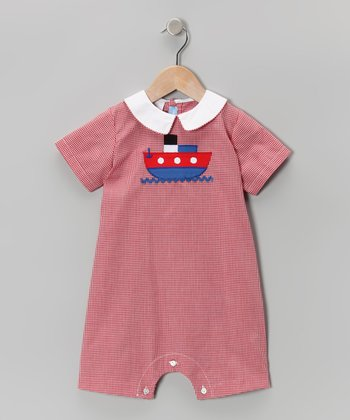 Red Gingham Boat Romper - Infant