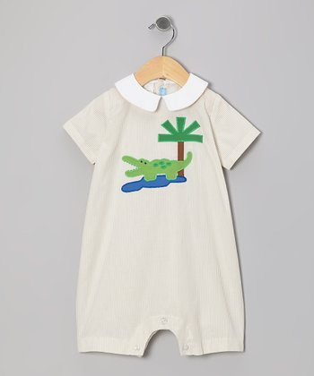 Tan Stripe Alligator Romper - Infant