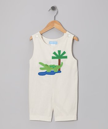 Tan Stripe Alligator Shortalls - Infant & Toddler