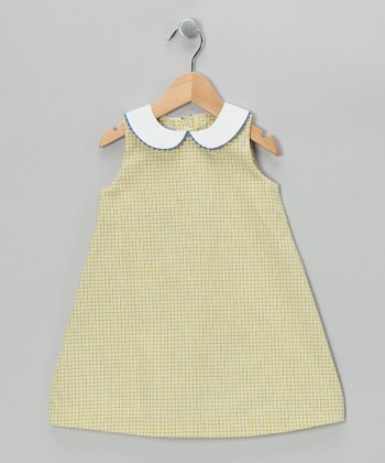Yellow Plaid A-Line Dress - Toddler
