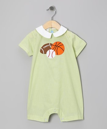 Green Stripe Sports Romper - Infant