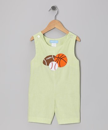 Green Stripe Sports Shortalls - Infant & Toddler