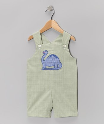 Green Plaid Dinosaur Shortalls - Infant & Toddler