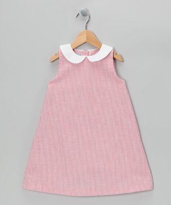 Deep Red Stripe A-Line Dress - Toddler