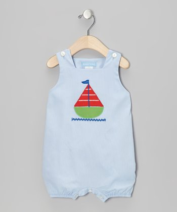 Light Blue Sailboat Bubble Romper - Infant