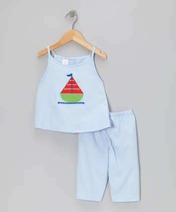 Light Blue Sailboat Tank & Capri Pants - Infant & Toddler