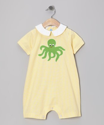 Yellow Gingham Octopus Romper - Infant