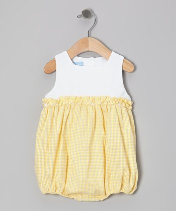 Yellow Gingham Ruffle Bubble Bodysuit - Infant