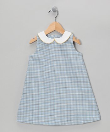 Dark Blue Plaid A-Line Dress - Toddler