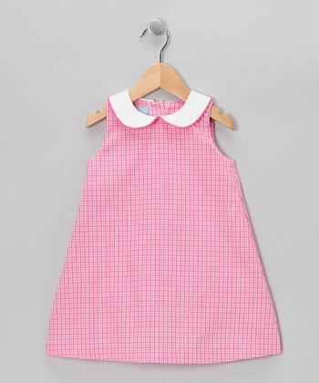 Hot Pink Plaid A-Line Dress - Toddler