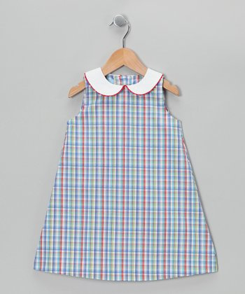 Blue & Red Plaid A-Line Dress - Toddler