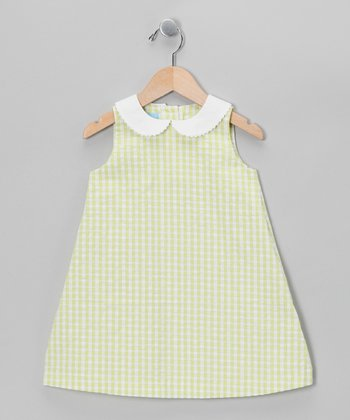 Lime Gingham A-Line Dress - Toddler