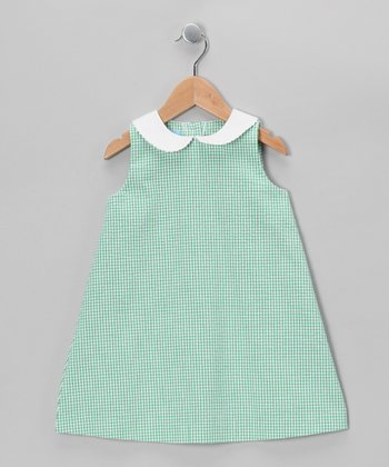Green Gingham A-Line Dress - Toddler