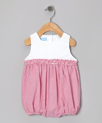 Hot Pink Gingham Seersucker Ruffle Bubble Bodysuit - Infant