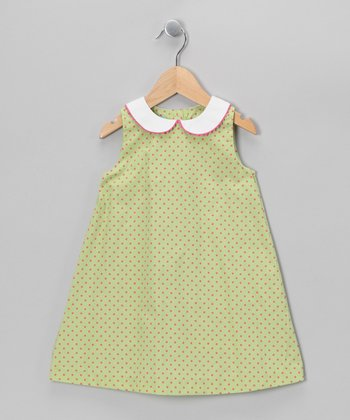 Green & Hot Pink Polka Dot A-Line Dress - Toddler
