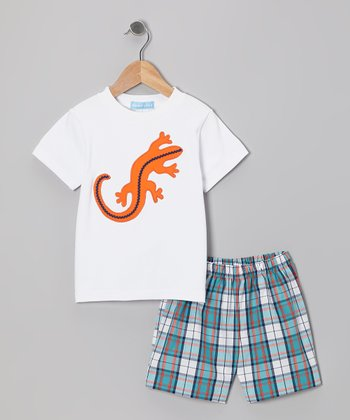 White Lizard Tee & Blue Plaid Shorts - Toddler & Boys