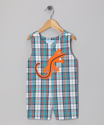 Blue & White Plaid Lizard Shortalls - Infant & Toddler