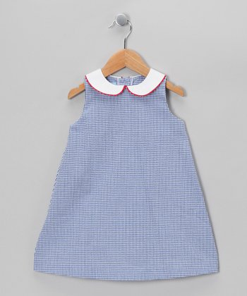 Royal Blue Gingham A-Line Dress - Toddler