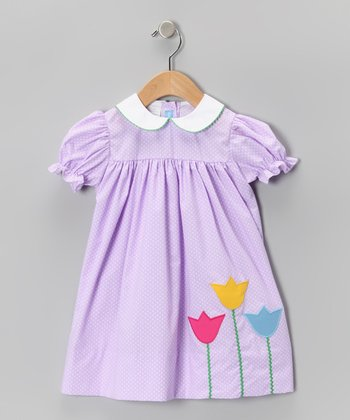 Purple Polka Dot Tulip Babydoll Dress - Infant