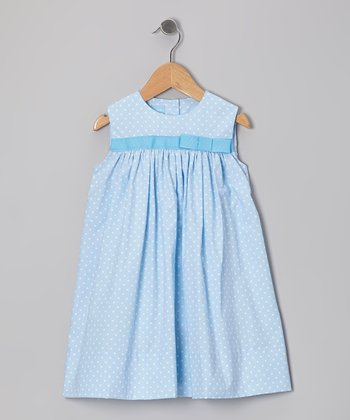 Light Blue Polka Dot Bow Float Dress - Infant & Toddler