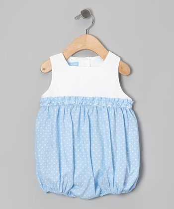 Light Blue Polka Dot Ruffle Bubble Bodysuit - Infant