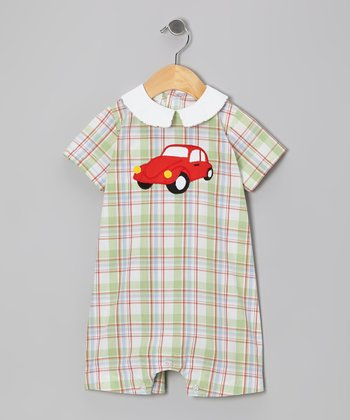 White & Green Plaid Car Romper - Infant