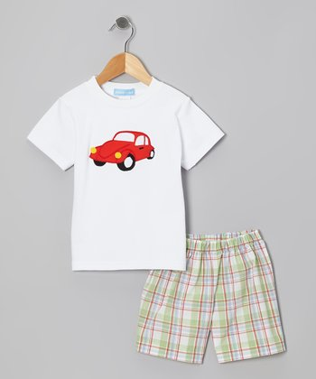 White Car Tee & Green Plaid Shorts - Boys