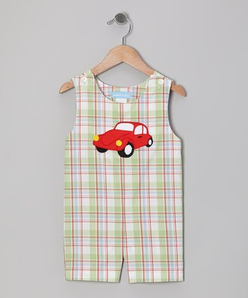 White & Green Plaid Car Shortalls - Infant & Toddler