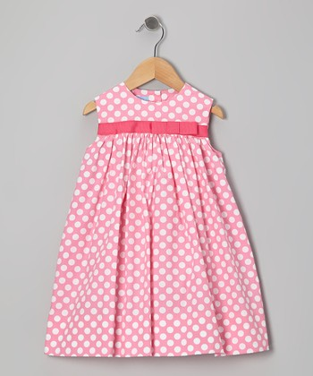 Pink Polka Dot Bow Float Dress - Infant & Toddler