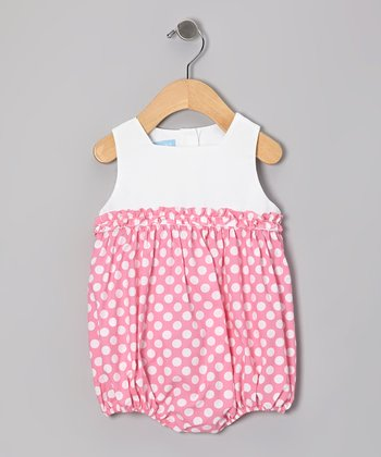 Pink Polka Dot Ruffle Bubble Bodysuit - Infant