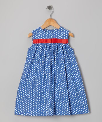 Royal Polka Dot Bow Float Dress - Infant & Toddler