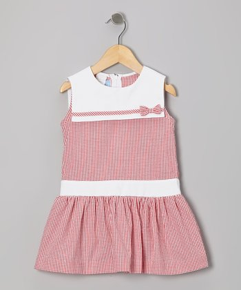 Red Gingham Seersucker Sailor Dress - Toddler & Girls