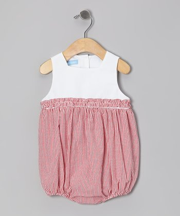 Red Gingham Seersucker Ruffle Bubble Bodysuit - Infant