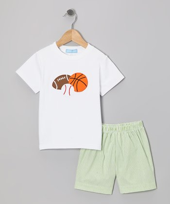 White Sports Tee & Green Stripe Shorts - Boys