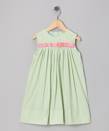 Lime Stripe Seersucker Bow Float Dress - Infant & Toddler