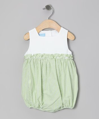 Lime Stripe Seersucker Ruffle Bubble Bodysuit - Infant