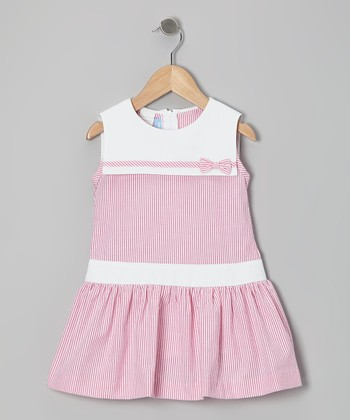 Hot Pink Stripe Seersucker Sailor Dress - Toddler & Girls