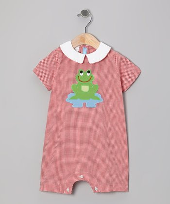 Red Gingham Frog Romper - Infant
