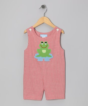Red Gingham Frog Shortalls - Infant & Toddler