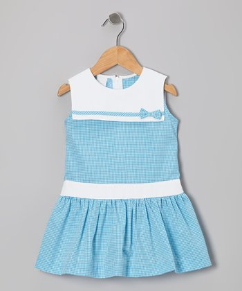 Turquoise Gingham Sailor Dress - Girls