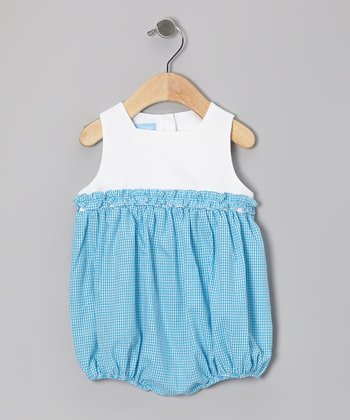Turquoise Gingham Ruffle Bubble Bodysuit - Infant