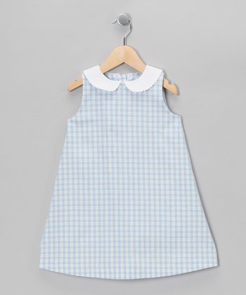 Blue Plaid A-Line Dress - Toddler