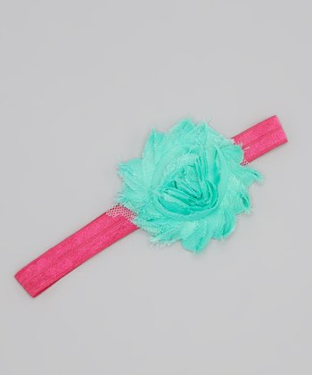 Aqua & Hot Pink Flower Headband