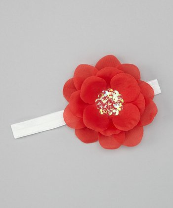 Red & White Sequin Flower Headband