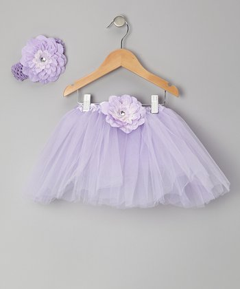Lavender Flower Tutu & Headband - Toddler & Girls