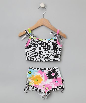 Pop Art Poppies Two-Piece Tank Swimsuit - Toddler & Girls