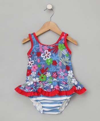 Blue Lagoon Ruffle Tank & Swim Diaper - Infant