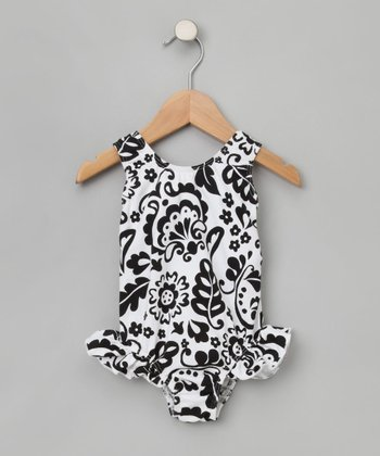 Vintage Scrolls Original Ruffle One-Piece Swimsuit -  Infant, Toddler & Girls