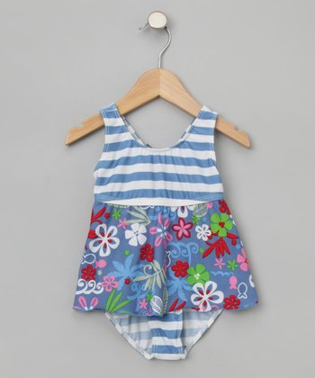 Flap Happy Girls - Blue Lagoon Ruffle One-Piece Tankini 4